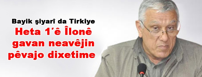 Bayik şiyarî da Tirkiyê: Heta 1'ê Îlonê gavan nevêjin pêvajo dixetime