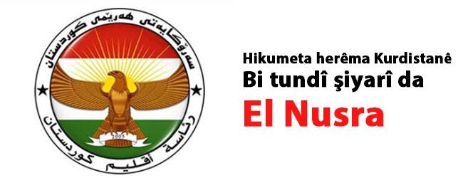 Hikumeta herêma Kurdistanê bi tundî şiyarî da El Nusra