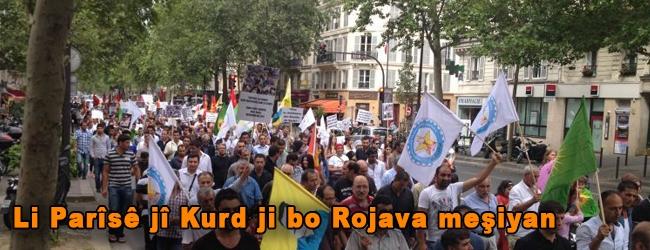 Li Parîsê jî Kurd ji bo Rojava meşiyan